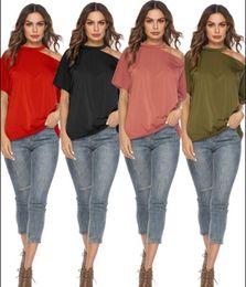 Xxl größe damen t-shirts online-Neues europäisches und amerikanisches Damen T-Shirt für Frühling und Sommer Frauen lösen beiläufiges T-Shirt Frauen plus Größe Kleidung 4Color S M L XL XXL