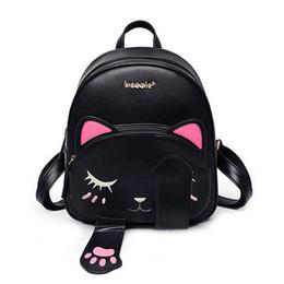 2019 mochila oreja de gato Cute Cat Backpack School Women Pu Mochilas de cuero para adolescentes Gatos divertidos Orejas Lienzo Bolsos de hombro Mochila femenina XA531B mochila oreja de gato baratos