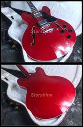 Гитара полу полый красный онлайн-2019 обычай традиции полый корпус E-335 электрогитара 22F перламутровый вишнево-красный цвет