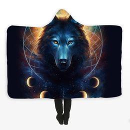 2020 lana de lobo Dream Catcher de JoJoesArt Microfibra de manta con capucha para adultos Niños Luna Eclipse Galaxy Wolf Sherpa Fleece Manta ponible lana de lobo baratos