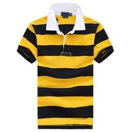 желтые рубашки поло Скидка Бесплатная доставка! Маленькая Лошадь желтый / черный Полосатый 2019 Горячей Продажи классический