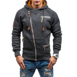 sweatshirts boys Coupons - Hoodies Men Slim Fit Winter Men Hoodies Bust Zipper Fashion Sweatshirts Mens Clothes Sudaderas Para Hombre Boy Hooded For Guy