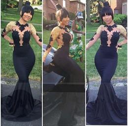 2019 oro nero, lungo abito puro Vintage Black Girls Mermaid Prom Dresses Collo alto Illusion Top Pizzo oro maniche lunghe Abiti da sera formale Sheer Torna accappatoio bal abito da ballo