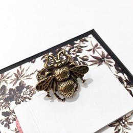 Unisex versprechen ringe online-Kupfer-überzogene goldene Retro- Insektenbienenring-Markendesignerschmuckring-Mannringversprechenringe für Paare Freies Verschiffen 2019
