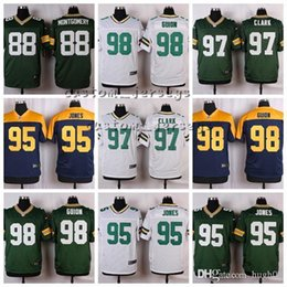 Verde baia jersey bianco online-Green New Bay # 98 Letroy Guion 97 Kenny Clark 95 Datone Jones 92 Reggie White 89 Jared Cook 88 Ty Montgomery Elite Calcio Maglie