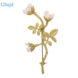 Natürliche barocke perlen großhandel online-Natürliche barocke Perle Rose Blumenbrosche Vintage Brosche Schals Schnalle Zubehör