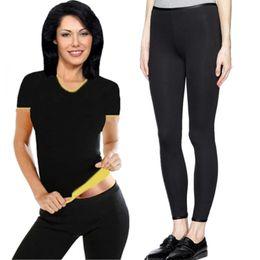 7210ecf55 Hot Women Shaper Neoprene Sauna Slimming Shirt Shapewear Waist-Trimmer  Slimming Pants Weight Loss Fat Burning Tshirt Capri Pants