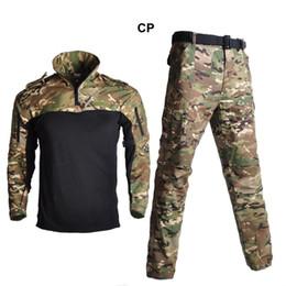 2019 kampfanzug armee Taktische Froschanzug Camouflage Jagd Kleidung Armee Jacke Uniform Sniper Combat Shirt + Hosen mit 4 Farben günstig kampfanzug armee