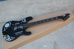 2019 melhor guitarra elétrica de mogno Custom Shop ESP Ébano KH-2 Kirk Hammett Ouija preto Ópera Guitarra Ébano fingerboard Guitarra Elétrica