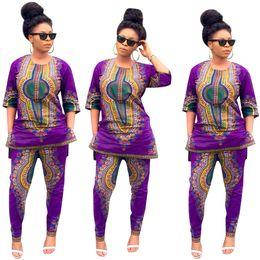 Retro clothing for women on-line-Vestido africano Roupas Femininas Roupas de Treino New Sexy Retro Moda Solta Dois Conjuntos De Calças De Montagem Com Camisa Treino