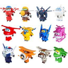 2019 super robot de deformação 2019 12 estilo Mini Super Asas Deformação Mini JAT ABS Robot toy Figuras de Ação Super Wing Transformação brinquedos para presente das crianças super robot de deformação barato
