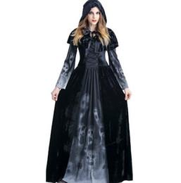 женские костюмы ужасов Скидка Необычные конструктор Женщины Форма Хэллоуин костюмы Horror Ведьмы Косплей Одежда Престижное Косплей костюмы с плаща + платья