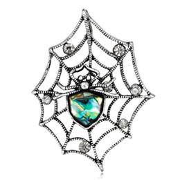 3 stücke Mode Opal Stein Spinnennetz Brosche Geburtstag frauen schmuck rhienstone korea stil gold broschen hochwertige schmuck von Fabrikanten