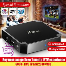 2019 tv hd inteligente X96 Mini Smart Android 7.1 TV BOX con 1 mes de experiencia de IPTV Amlogic S905W Reproductor multimedia de cuatro núcleos rebajas tv hd inteligente