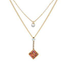 Ciondolo perle di druck online-Gioielli stile retrò con perla color oro e pietra a forma geometrica collana pendente choker druzy per le donne regalo del partito