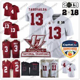 derrick henry maillot de foot Promotion Alabama Crimson Tide # 13 Tua Tagovailoa 2019 Champions White Jersey 2 Blessons 4 Jerry Jeudy Derrick Henry Ruggs 11 Bol Rouge Orange