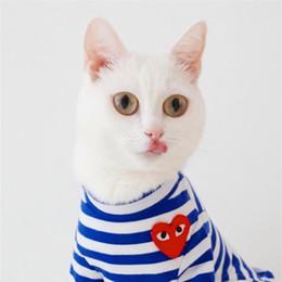 Moda Pet T -shirt per Teddy Puppy Apparel Pet Supplies Estate Autunno Newest Dog's Tees Abbigliamento Stripe bianco e blu da