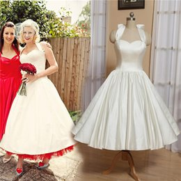 short red halter dresses Promo Codes - 2019 Cute Ivory Satin Short Wedding Dresses Simple 50s Tea Length Bridal Gowns With Bow Halter Neck Custom Plus Size Wedding Gowns