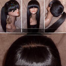 bangs capelli umani afro-americani Sconti Parrucche lunghe diritte dei capelli naturali con la parrucca brasiliana dei capelli umani di simulazione dei capelli delle donne di resistenza al calore Brown nero per l'afroamericano