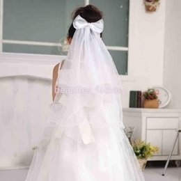Capelli velo ragazze online-Girls Lovely Bowknot Wreath Veil Headband Wedding Hair Wreath Floral Crown Veil Bianco o Rosa Nuovo