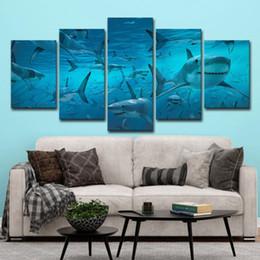 2019 peintures mer (Seulement Canvas No Frame) 5 Pcs Bleu Deep Sea Shark Essaim Peintures Mur Art HD Imprimer Toile Peinture Mode Suspendre Photos peintures mer pas cher