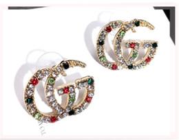2019 pendenti africani fatti a mano Orecchini di lusso a due lettere di design di moda di design di marca all'ingrosso stud orecchini in oro puro e argento per i regali di gioielli da sposa