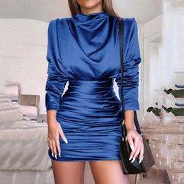 cetim mini deslizamento Desconto 2018 azul cetim de seda sexy mini dress mulheres elegantes party club vestidos de escritório senhora chupando slip bodycon dress vestido de festa da rainha