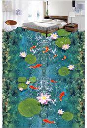 2019 pintura de peces 3d Pintura impermeable para pisos HD de agua de loto peces 3D baldosas para el suelo pegatinas pintando papel tapiz sala de estar Fondo de pantalla personalizado pintura de peces 3d baratos