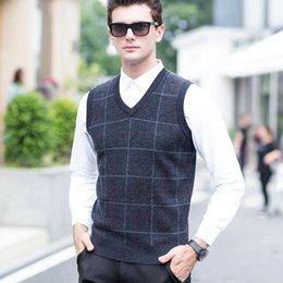 2019 beiläufige wollwesten für männer Neue Mode Für Männer Wolle Stricken Pullover Weste Männlichen Plaid Lässige Pullover Herren Winter Business Formale Pullover günstig beiläufige wollwesten für männer