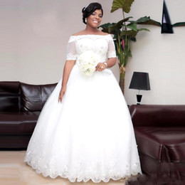 South Africa Elegant Ball Gown Wedding Dresses Nigeria Boat Neck Bare Shoulders Bridal Gowns With Half Sleeves Lace Beaded Bridal Dress cheap bare shoulder dress sleeves de Fornecedores de mangas de vestido de ombro nu