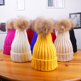 women warm crochet hat Promo Codes - Winter Women Knitted Hat Warm Pom Pom big Fur ball Wool Hat Ladies Skull Beanie Solid crocet Female Outdoor Caps LJJA2808