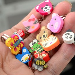 green resin ring Coupons - Mixed Cartoon Animal Finger Rings Girls Kids Children's Polymer Clay Adjustable Rings For Women Fashion Jewelry Gift