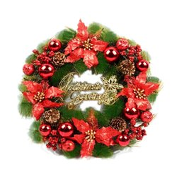 christmas wreaths for door Promo Codes - Plastic Christmas Wreath 30cm New Year Hanging Garland Wall Door Hanging Christmas Decoration for Home P