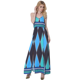 2019 Ucrania Mujeres Cami Vestido Colorblock Geométrico Con Cuello En V Sin Mangas Side Split Maxi Vestido Casual Vestido de Verano Azul Robe Femme desde fabricantes