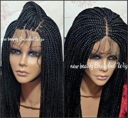 2019 cheveux humains arc-en-ciel Stock partie libre Box perruque avant moyen de couleur noire tressée en dentelle pleine de Tresses pour les femmes synthétique résistant à la chaleur africaine fibre