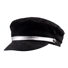 Kadın Bayanlar Gerçek deri Koyun Derisi Bere Deniz Şapkası Newsboy Militri Düz Şapka Ordu / Lacivert Kapaklar / Şapkalar cheap navy army cap nereden lacivert ordu kapağı tedarikçiler