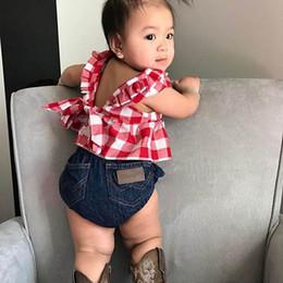 blusa denim bebê menina Desconto Ins Verão bebê recém-nascido roupas de menina Blusa Tops + denim calças PP + arcos headband Recém-nascidos Outfits bebê menina roupas de grife bebê ternos A5450