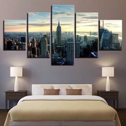2019 new york dekorationen Dekoration Leinwandbilder Wandkunst Poster Und Drucke 5 Stücke New York City Gebäude Landschaftsmalerei Für Wohnzimmer rabatt new york dekorationen