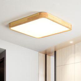 Cozinha teto luz madeira on-line-Nórdico Simples Moderna De Madeira Quadrado Lâmpada Do Teto Ultra fino Japonês LEVOU Luzes de Teto Para Sala de estar Quarto Estudo de Cozinha Varanda