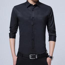 89e4c474daf Camisas de vestir formales de negocios de algodón puro de manga larga de  manga larga de color sólido para hombres solteros