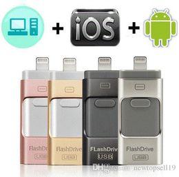 8gb unidades flash online-Buena calidad USB Flash Drive para iPhone X / 8/7/7 Plus / 6 / 6s / 5 / SE / ipad OTG Pen Drive HD Memory Stick 8GB 16GB 32GB 64GB 128GB Pendrive usb 3.0