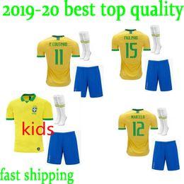 d21237140 2019 20 Brasil soccer jerseys Brazil Jersey 2019 2020 JESUS COUTINHO  FIRMINO MARCELO football kids kit shirt camisa Football Shirt G.JES