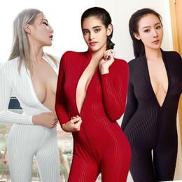 Kadınlar Sexy Lingerie Tulum Seti pijamalar Stretch Ön Fermuar Skinny Yüksek Yaka Uzun Kollu Bandaj bodysuit Gece Clubwear nereden