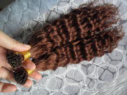 2019 виргинские волосы слияния #33 темно-каштановый коричневый Реми наращивание волос 200S кератин fusion предварительно блондированных человеческих волос кудрявый вьющиеся бразильские девственные волосы Реми дешево виргинские волосы слияния