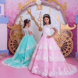 vestido rosa blanco para niño Rebajas Pink Sky Blue con encaje blanco Formal Girls Vestidos de desfile 2019 Princess A Line Cap Mangas Sweep Train Kids Toddler Birthday Prom Dress
