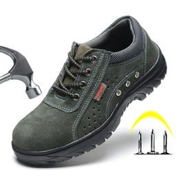 2019 zapato de hombre adulto Botas de hombre 2019 Botas de seguridad para el trabajo con punta de acero Zapatos de seguridad para el trabajo contra pinchazos Zapatillas de deporte casuales Zapatos masculinos Botas de trabajo para adultos rebajas zapato de hombre adulto