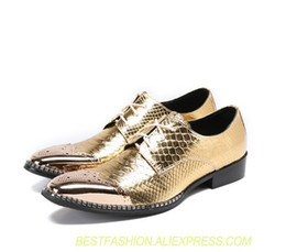 Canada Chaussures Hommes lace up up ogives robe formelle en cuir véritable or Stone Pattern talon chunky fer orteils hommes 5cm chaussures richelieu supplier gold stone heel Offre