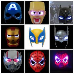 maschere di ferro Sconti LED Flash Mask Bambini Maschere di Halloween Incandescente maschera di illuminazione Avengers Capitan America Batman Ironman Spiderman Maschera per feste AAA1924