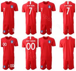 Name kits zahlen fußball online-2019 2020 Südkorea-Fußball Jersey Red Son Heung-Min Lee Yong HMSON YHGO Fußball-Hemd Kits Uniform Custom Name Nummer