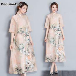 2019 vestidos chineses impressos 2019 novo listrado mulheres elegantes diariamente vestido de manga três quartos cheongsam melhorou estilo chinês impressão qipao vestidos chineses impressos barato